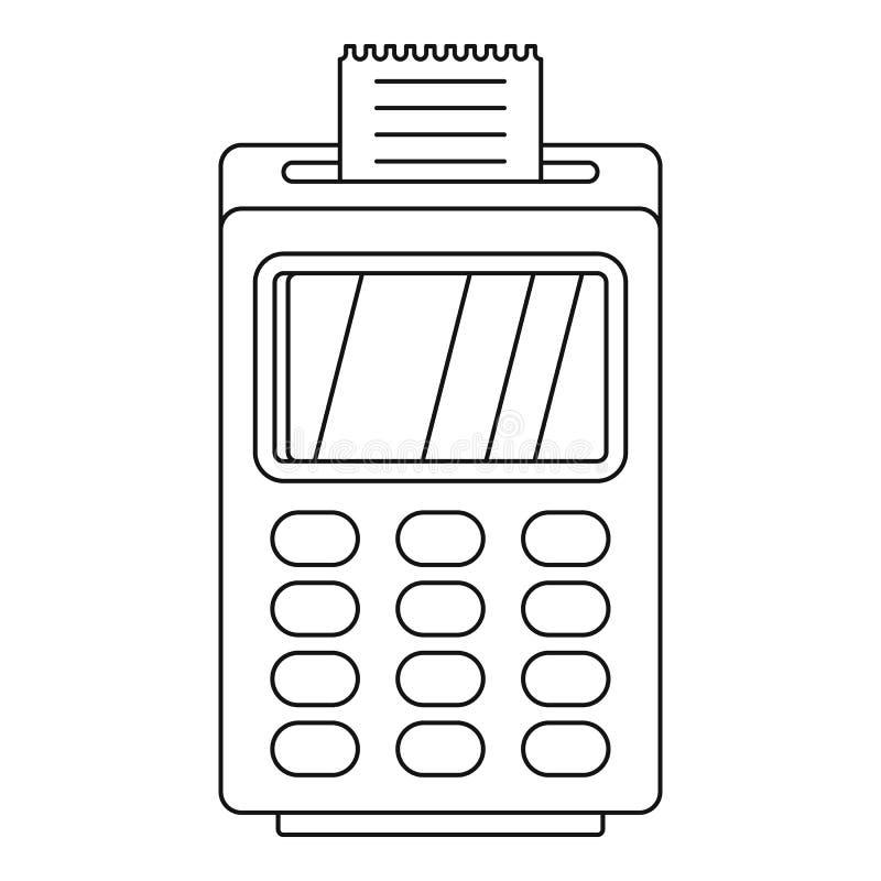 Ícone cashless terminal do pagamento, estilo do esboço ilustração stock