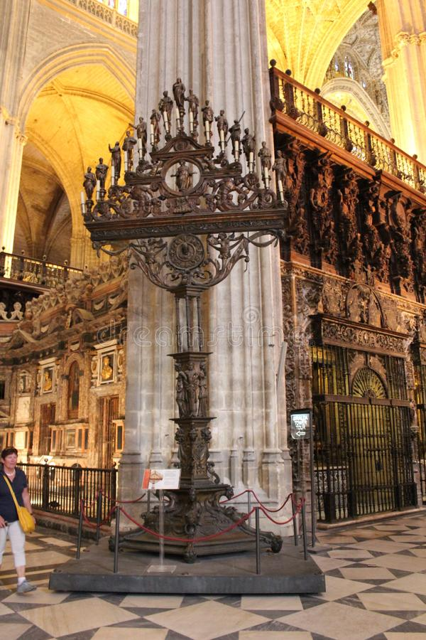 ícone A catedral de St Mary do espanhol da vista: La Sede de Catedral de Santa MarÃa de, a Andaluzia, Espanha imagem de stock
