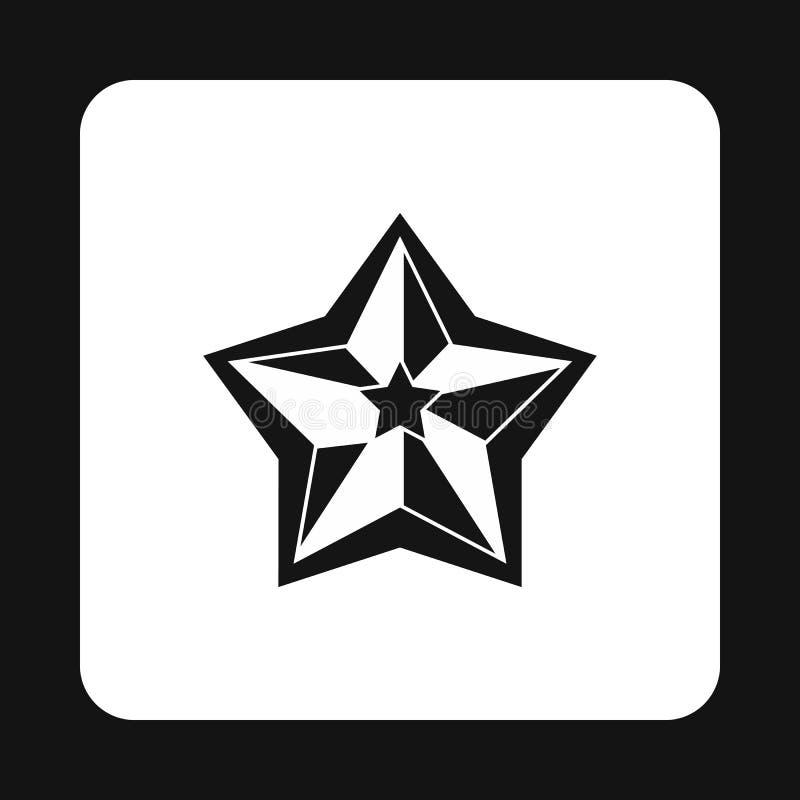 Ícone celestial aguçado da estrela cinco, estilo simples ilustração royalty free