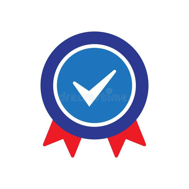 Ícone certificado aprovado Ícone certificado do selo Símbolo aceitado da abonação com sinal ilustração stock