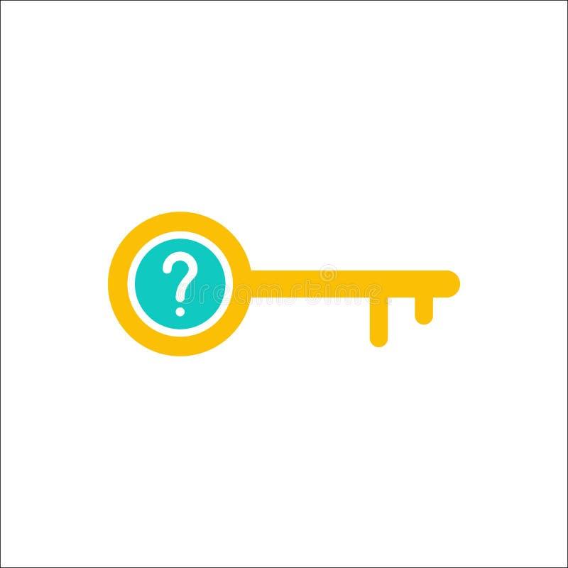 Ícone chave, acesso, fechamento, fechado, ícone da segurança com ponto de interrogação Ícone e ajuda chaves, como a, informação,  ilustração royalty free