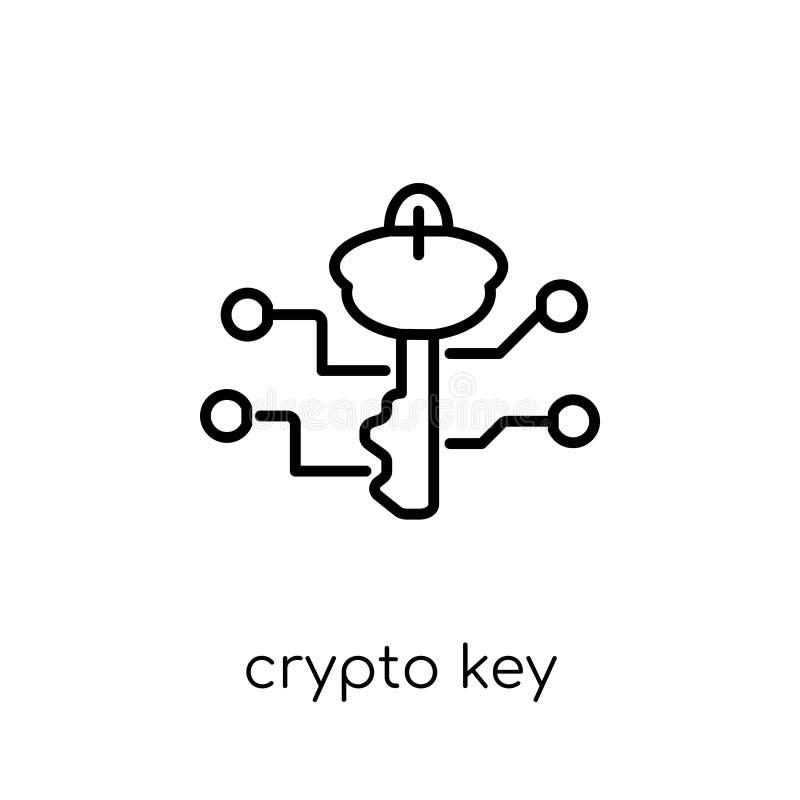 ícone chave cripto Ico chave cripto do vetor linear liso moderno na moda ilustração stock