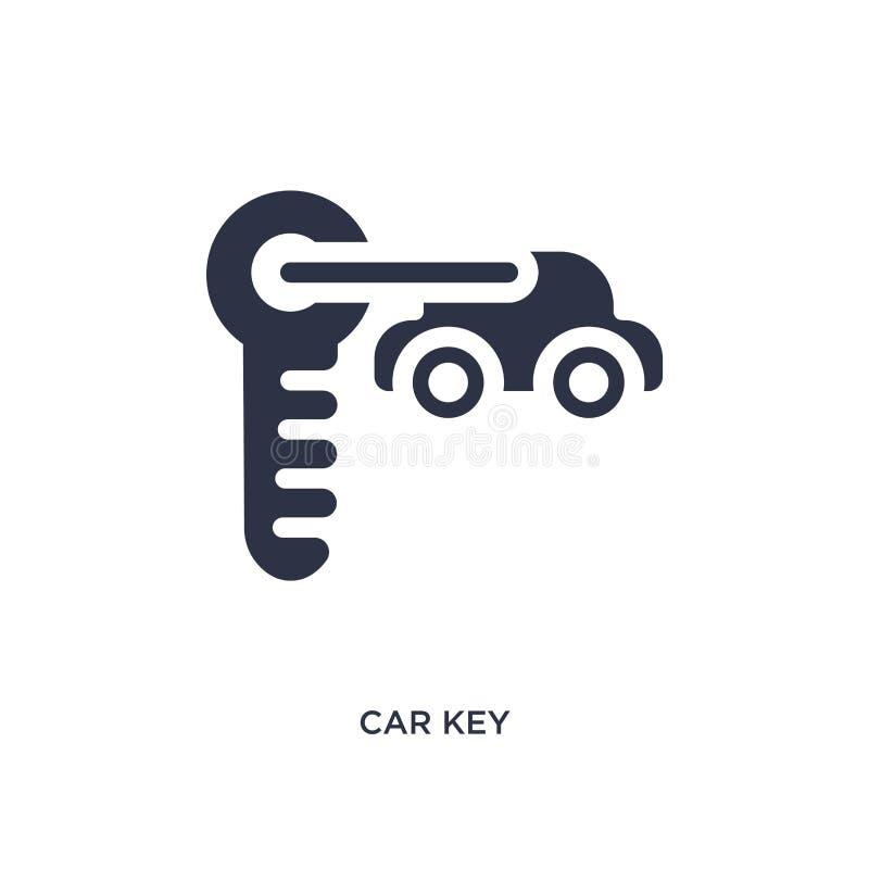Ícone chave do carro no fundo branco Ilustração simples do elemento do conceito dos mechanicons ilustração do vetor
