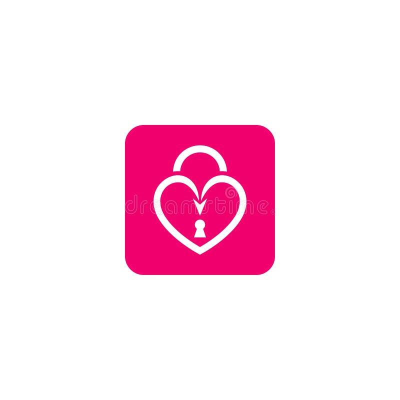 Ícone chave do fechamento do amor ilustração royalty free