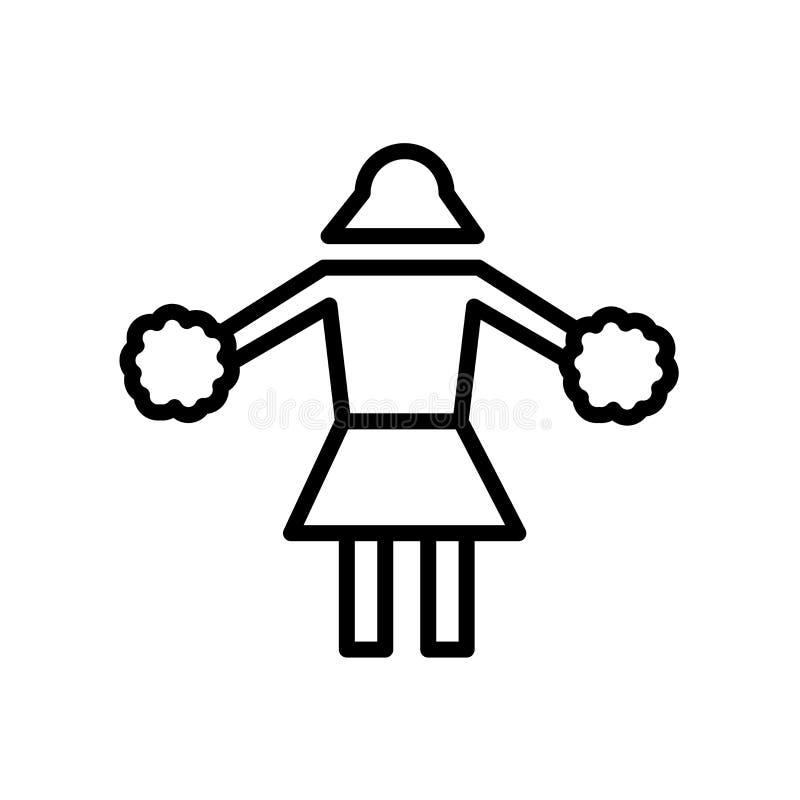 ícone cheerleading isolado no fundo branco ilustração do vetor