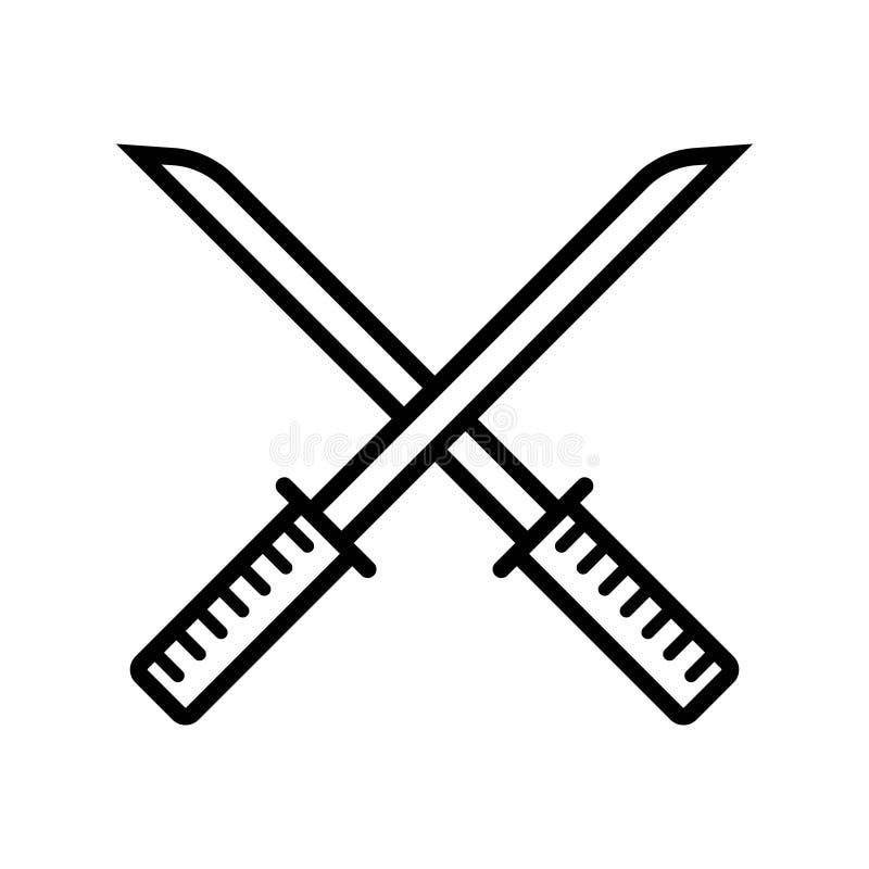 Ícone chinês da espada ilustração stock