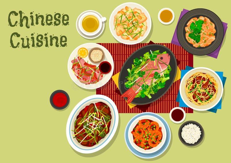 Ícone chinês do jantar da culinária para o projeto asiático do alimento ilustração royalty free