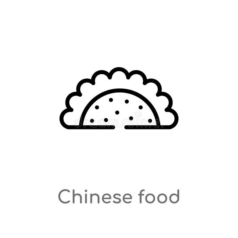 ícone chinês do vetor do alimento do esboço linha simples preta isolada ilustração do elemento do conceito do alimento Curso edit ilustração royalty free