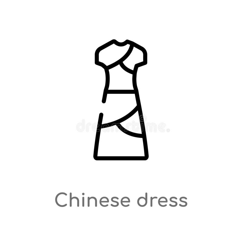 ícone chinês do vetor do vestido do esboço linha simples preta isolada ilustração do elemento do conceito asiático Curso editável ilustração do vetor