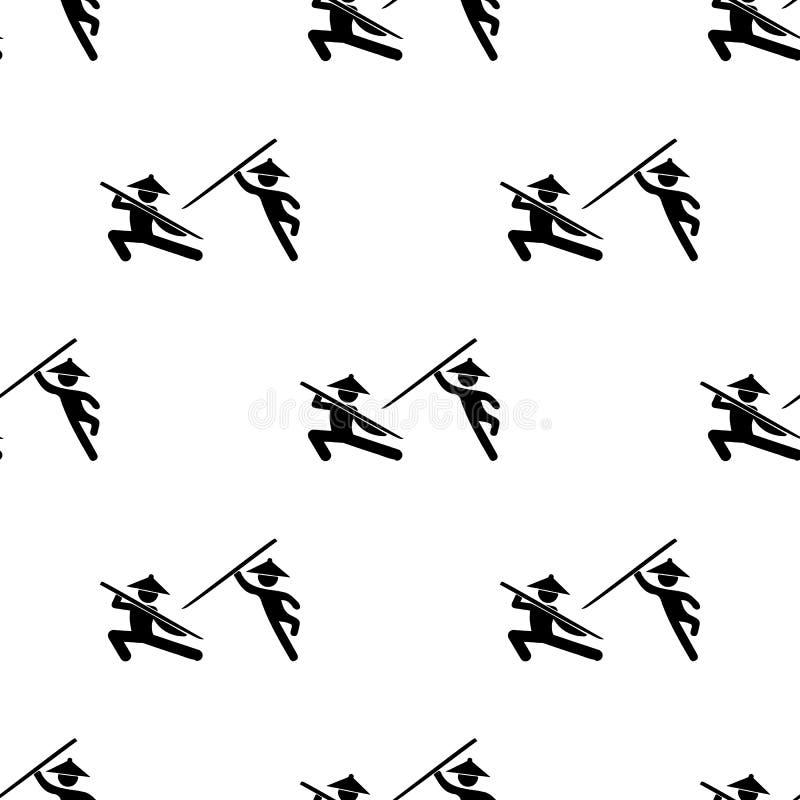 ícone chinês dos lutadores da luta Elemento de ícones da luta para apps móveis do conceito e da Web Lutador sem emenda do chinês  ilustração royalty free