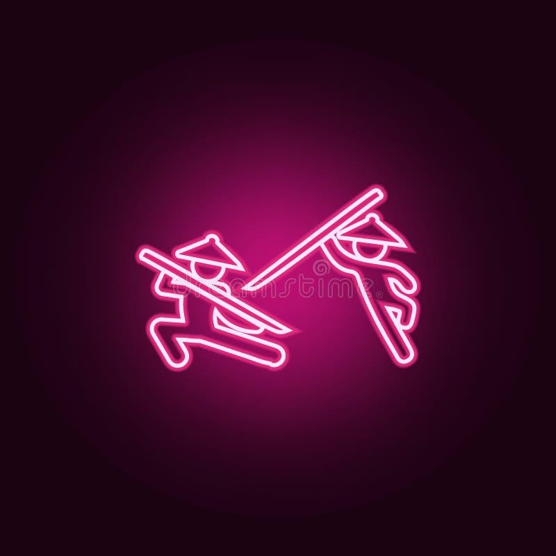 ícone chinês dos lutadores da luta Elementos da luta nos ícones de néon do estilo Ícone simples para Web site, design web, app mó ilustração do vetor