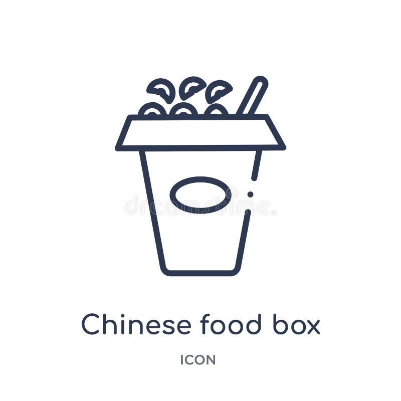 Ícone chinês linear da caixa do alimento da coleção do esboço do alimento Linha fina ícone chinês da caixa do alimento isolado no ilustração stock
