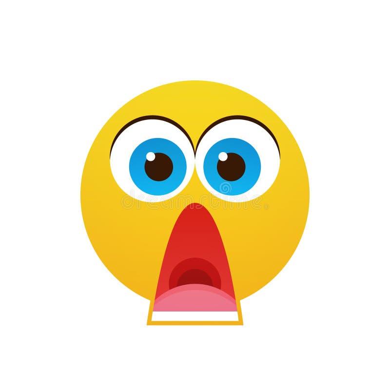 Ícone chocado da emoção dos povos dos desenhos animados cara amarela ilustração stock