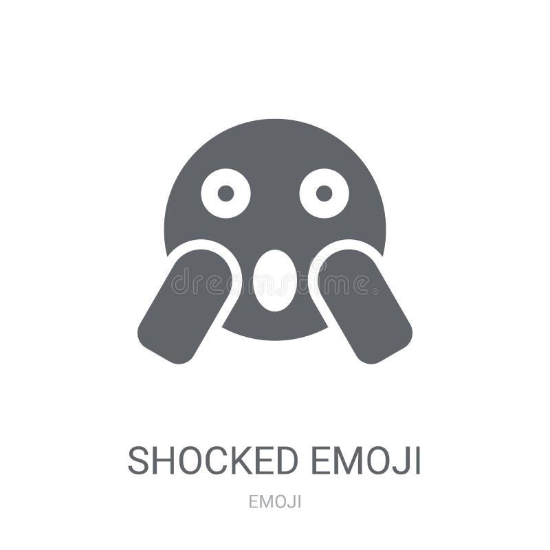 Ícone chocado do emoji  ilustração stock