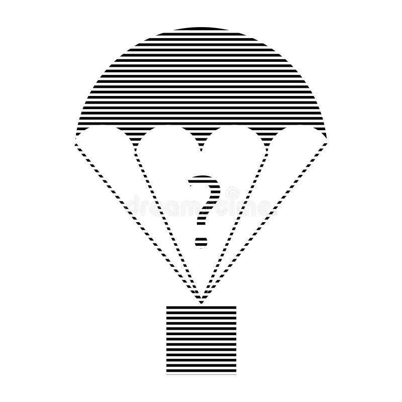 Ícone chocado do ponto de interrogação do paraquedas de carga ilustração stock