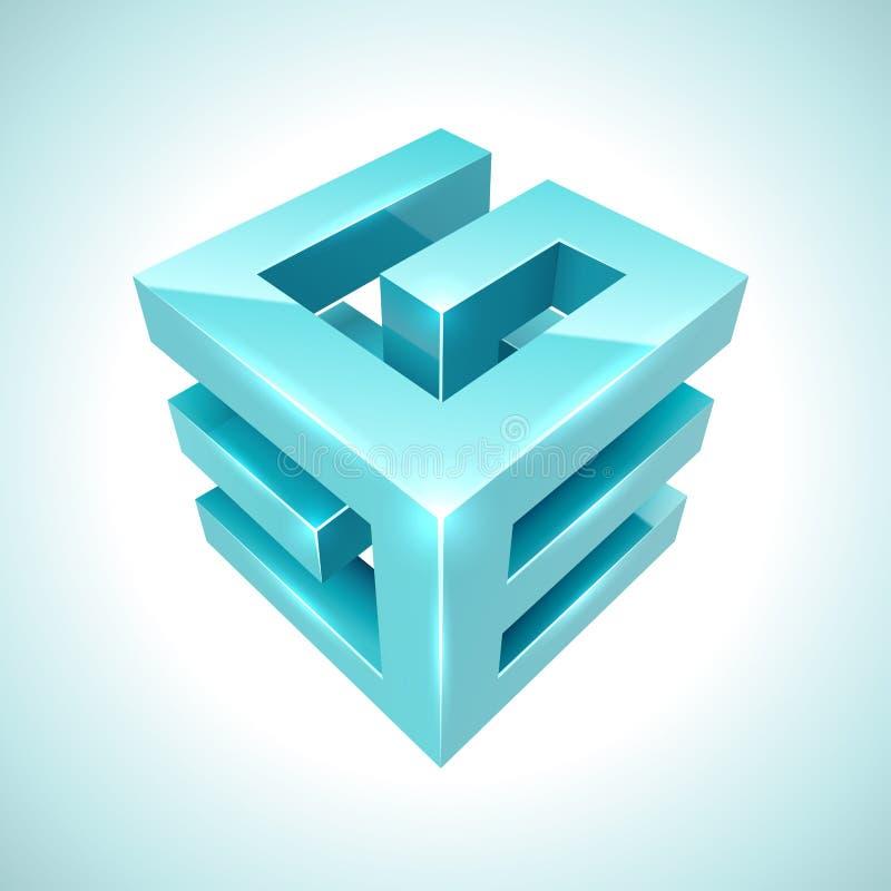 Ícone ciano do cubo 3D abstrato ilustração do vetor