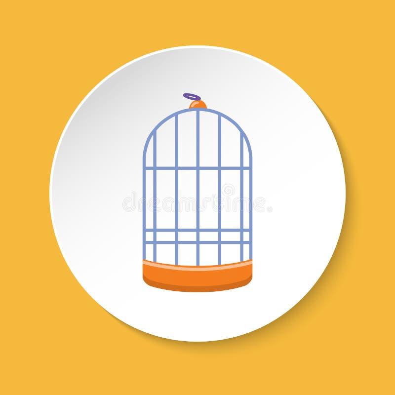 Ícone cilíndrico da gaiola de pássaro no estilo liso ilustração do vetor