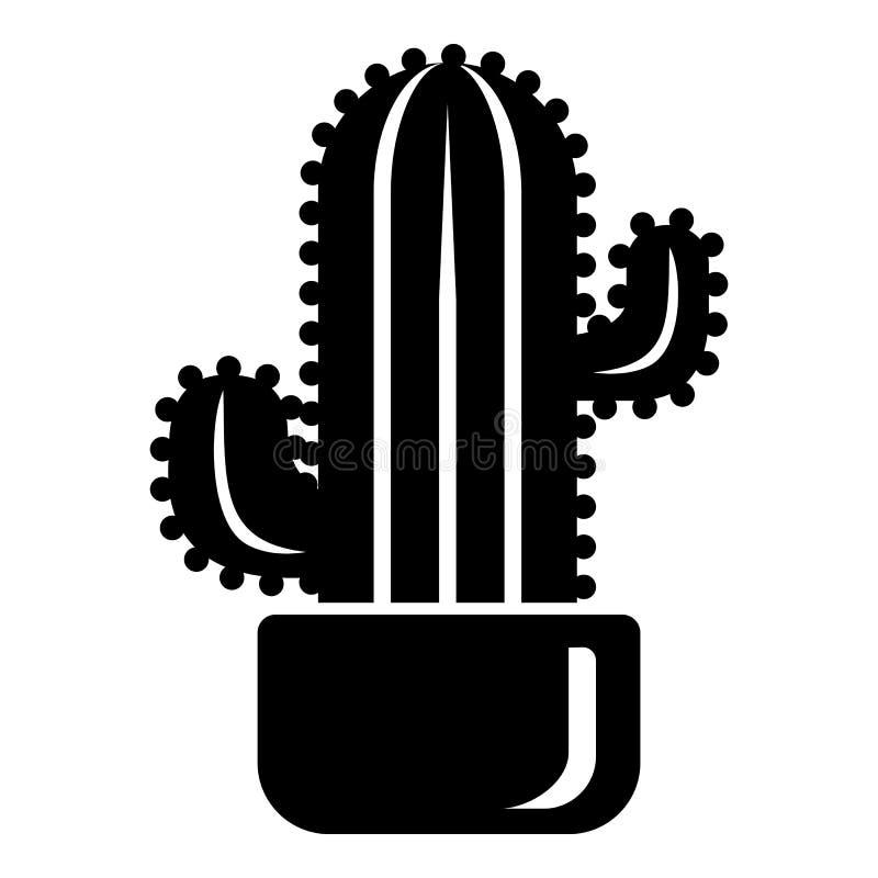 Ícone cilíndrico do cacto, estilo simples ilustração royalty free