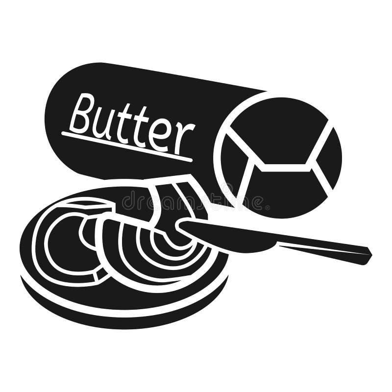 Ícone cilíndrico do pacote da manteiga, estilo simples ilustração royalty free