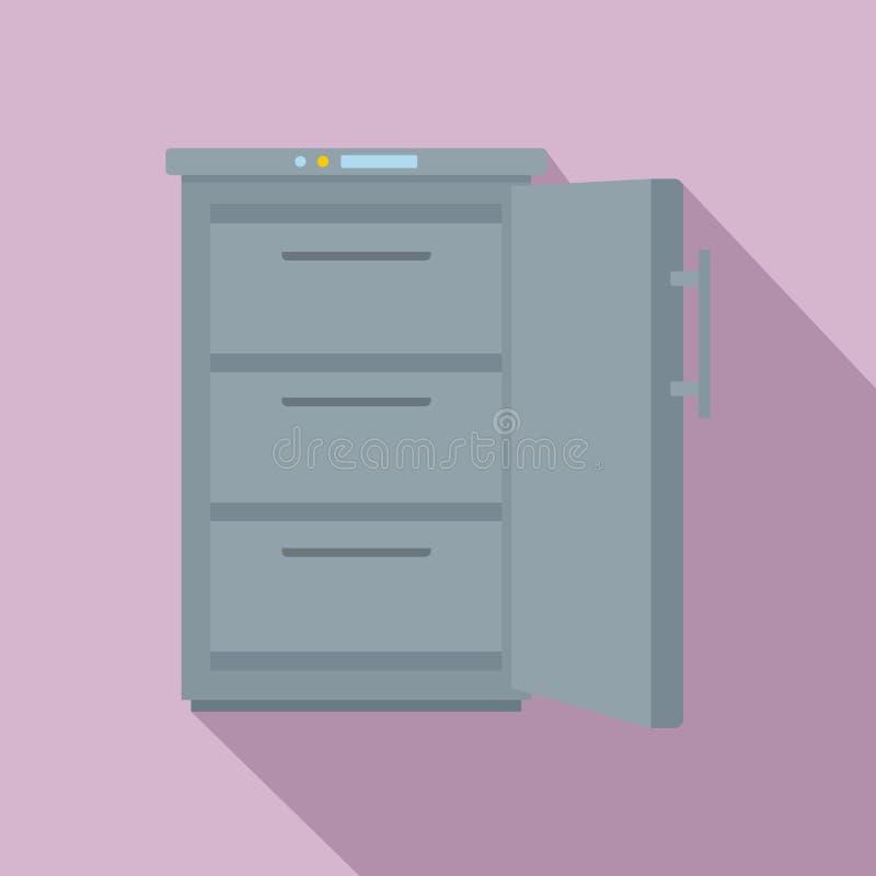 Ícone cinzento do congelador, estilo liso ilustração do vetor