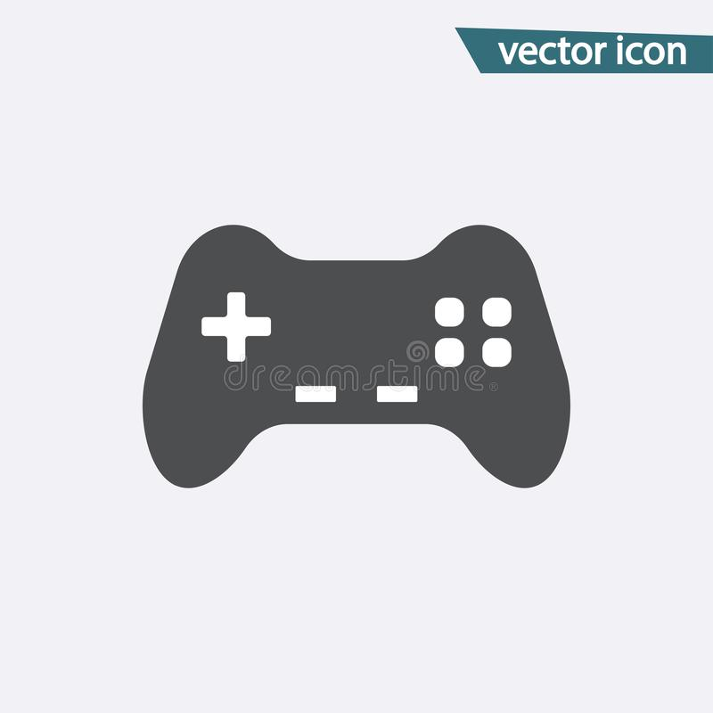 Ícone cinzento do controlador do jogo isolado no fundo Pictograma liso moderno do manche, conceito do Internet ilustração stock