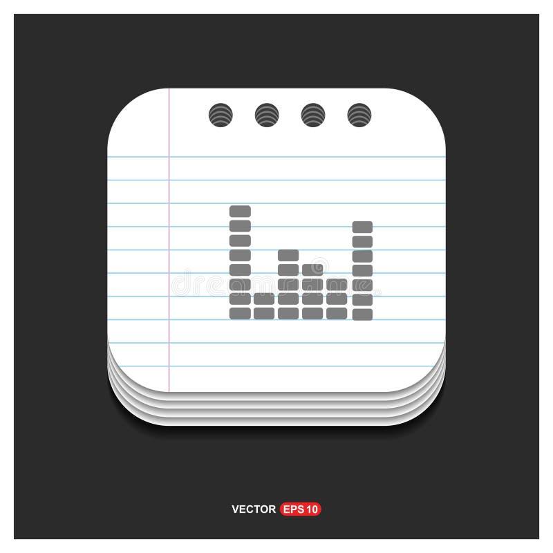Ícone cinzento do ícone da onda sadia da música no vetor do molde do estilo do bloco de notas ilustração do vetor