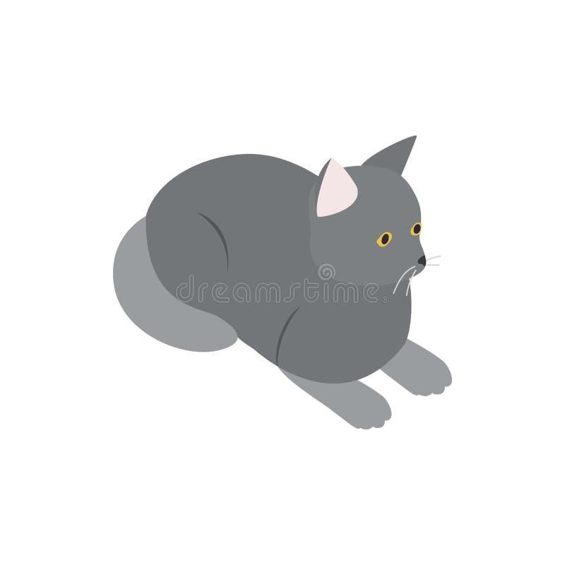 Ícone cinzento do gato, estilo 3d isométrico ilustração royalty free