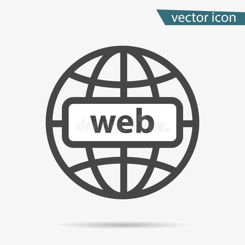 Ícone cinzento do HTTP do endereço isolado Sinal liso simples moderno do globo Conceito do Internet do negócio Na moda assim ilustração stock