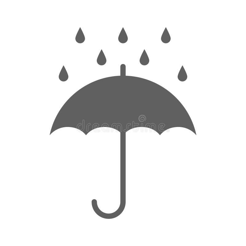 Ícone cinzento gráfico do guarda-chuva com gotas ilustração do vetor