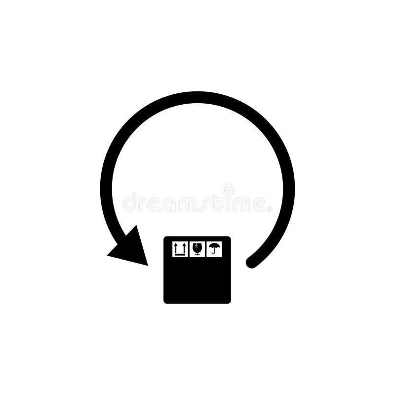 ícone circular da caixa da seta e de embalagem Elemento de logístico para apps móveis do conceito e da Web Ícone para o projeto e ilustração stock