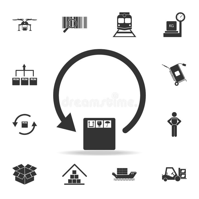 ícone circular da caixa da seta e de embalagem Grupo detalhado de ícones logísticos Projeto gráfico superior Um dos ícones da col ilustração do vetor