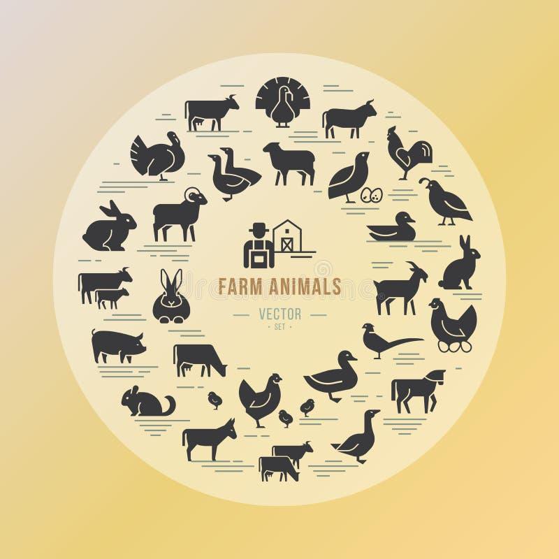 Ícone circular do vetor ajustado em um estilo linear de silhuetas dos animais de exploração agrícola ilustração do vetor