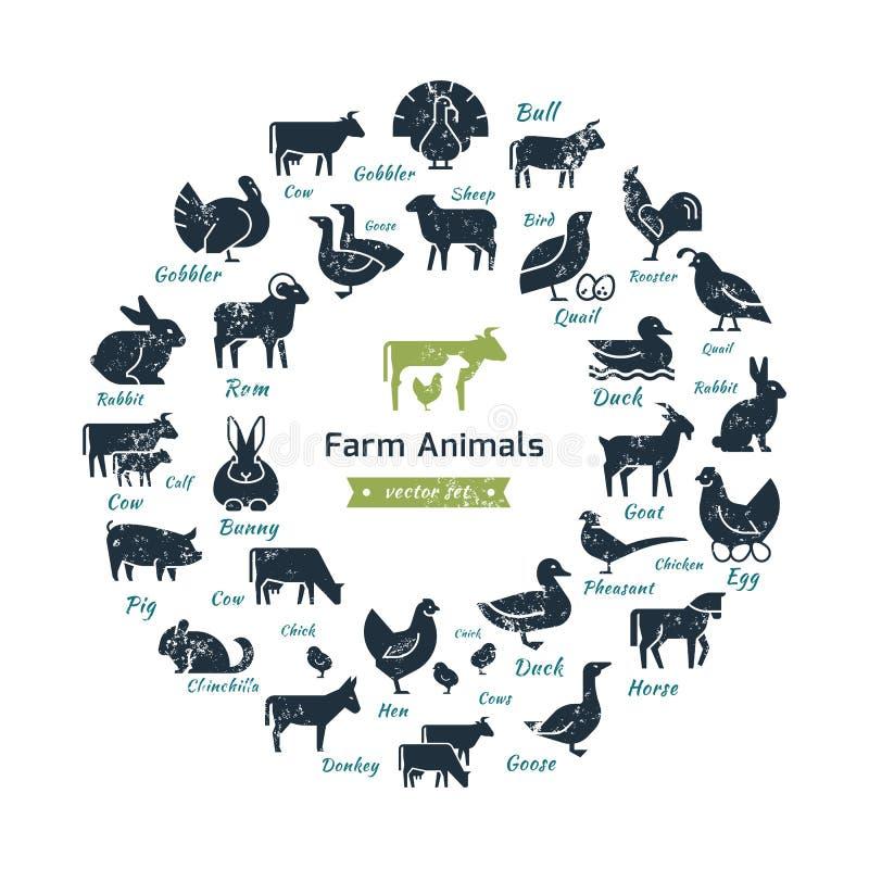 Ícone circular do vetor ajustado em um estilo liso de silhuetas dos animais de exploração agrícola ilustração do vetor