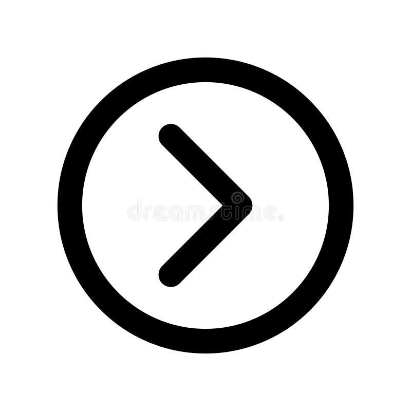 Ícone circundado básico da seta direita do app ilustração do vetor