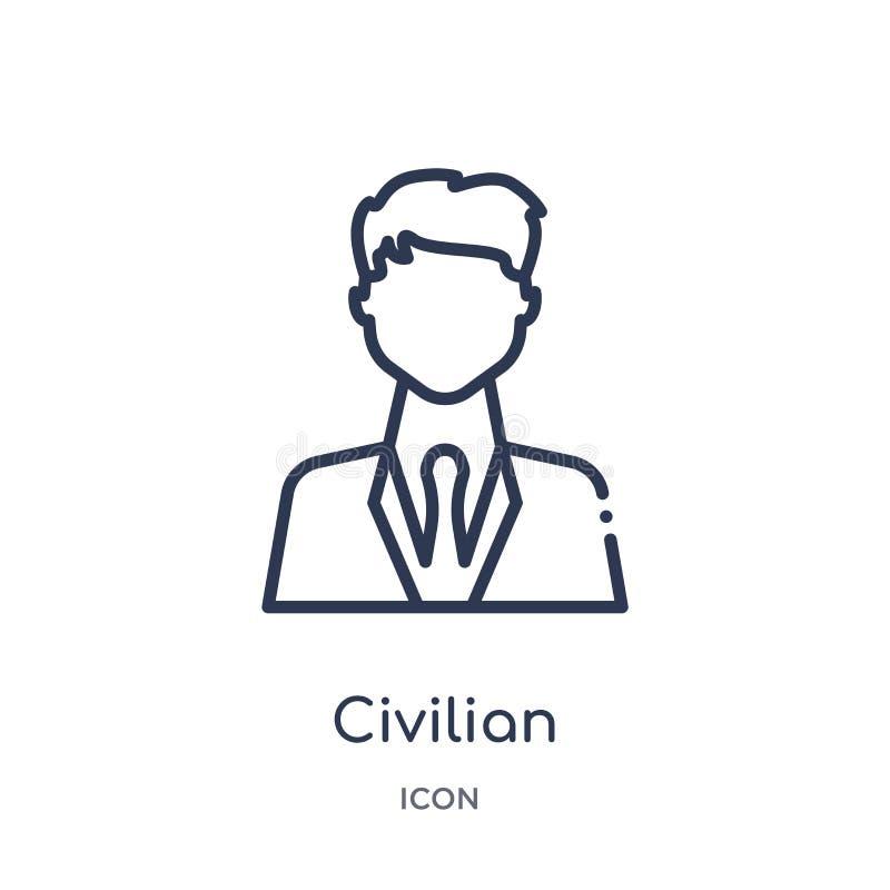 Ícone civil linear da coleção do esboço do exército e da guerra Linha fina vetor civil isolado no fundo branco na moda civil ilustração stock