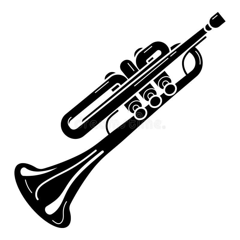 Ícone clássico da trombeta, estilo simples ilustração stock