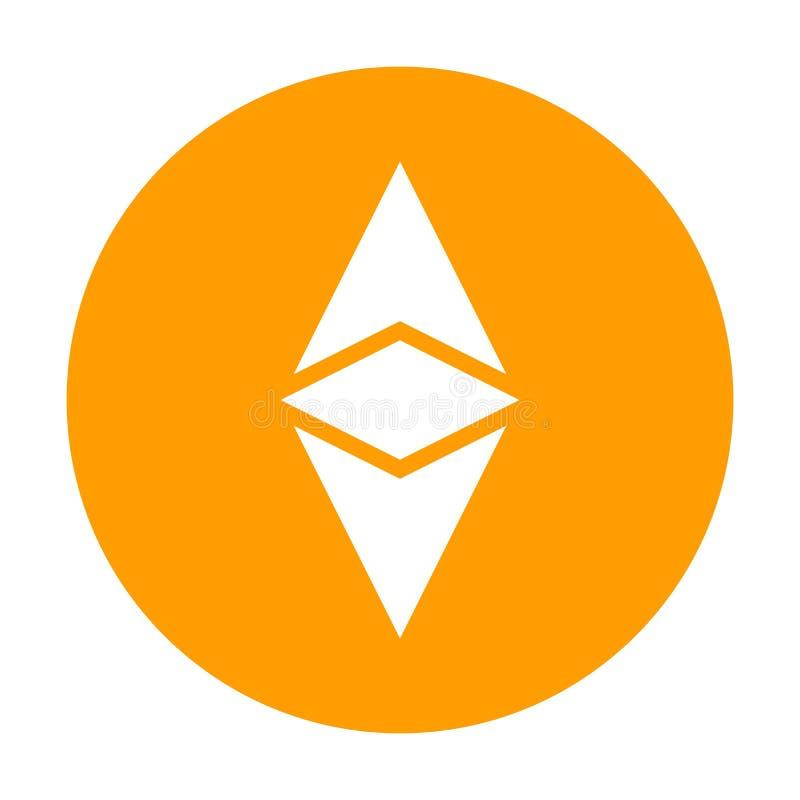 Ícone clássico de Ethereum para o dinheiro do Internet Símbolo de moeda cripto Blockchain baseou o cryptocurrency seguro Vetor ilustração royalty free