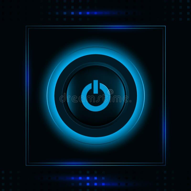 Ícone claro azul de incandescência moderno do botão do poder ilustração do vetor