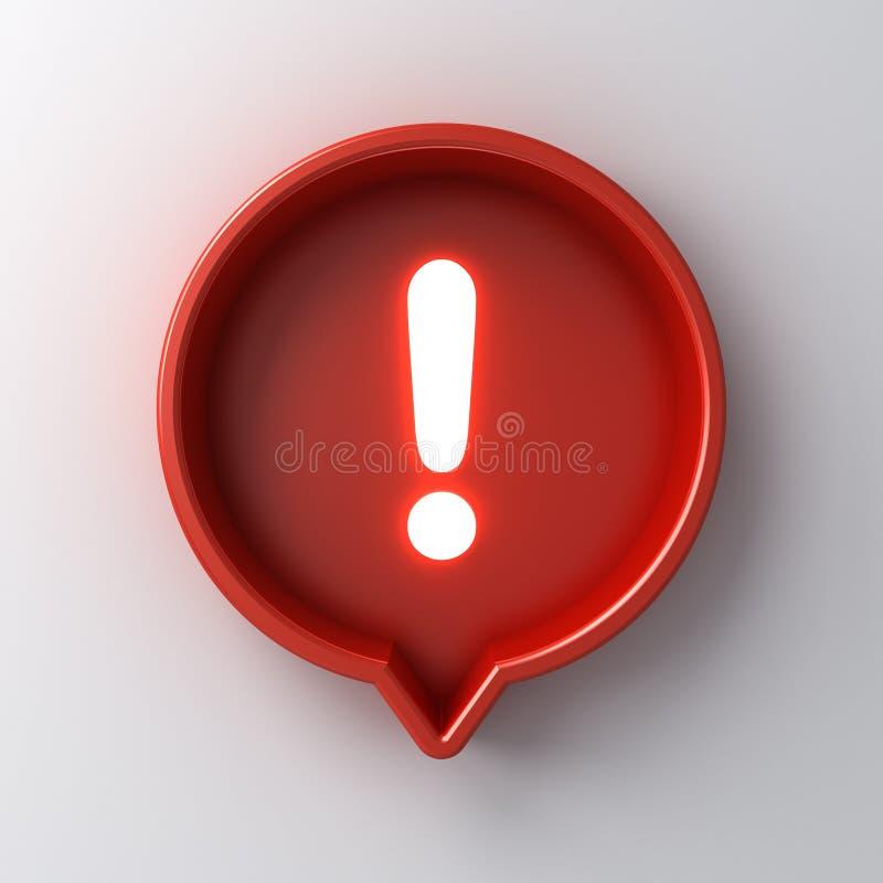 ícone claro de néon da marca de exclamação da notificação social dos meios 3d no pino redondo vermelho da caixa isolado no fundo  ilustração royalty free