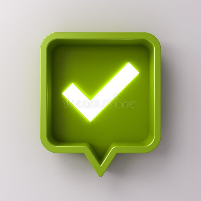 ícone claro de néon da marca de verificação da notificação social dos meios 3d no pino quadrado arredondado verde no fundo branco ilustração do vetor