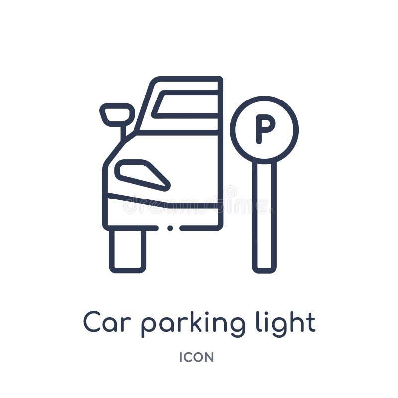 Ícone claro linear do estacionamento do carro da coleção do esboço das peças do carro Linha fina vetor da luz de estacionamento d ilustração royalty free