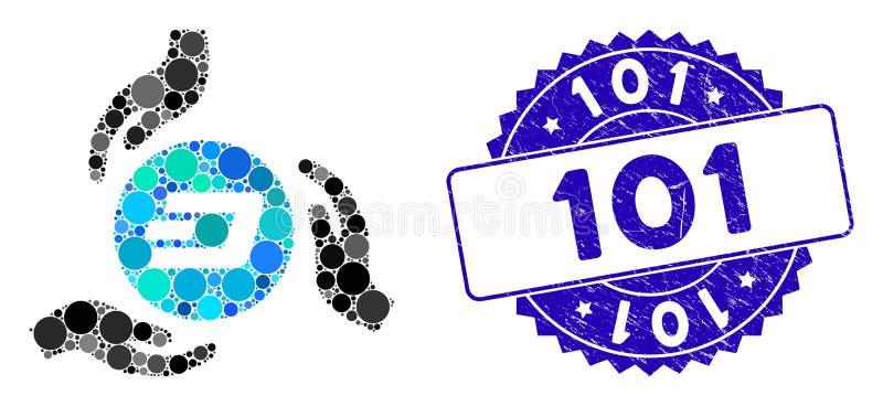 Ícone Collage Dash Coin Care Hands com 101 Selo Texturizado ilustração do vetor