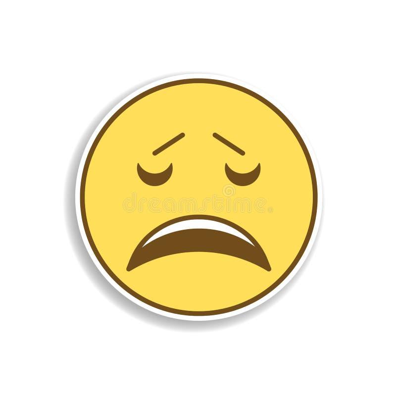 ícone colorido aborrecimento da etiqueta do emoji Elemento do emoji para a ilustração móvel dos apps do conceito e da Web ilustração stock
