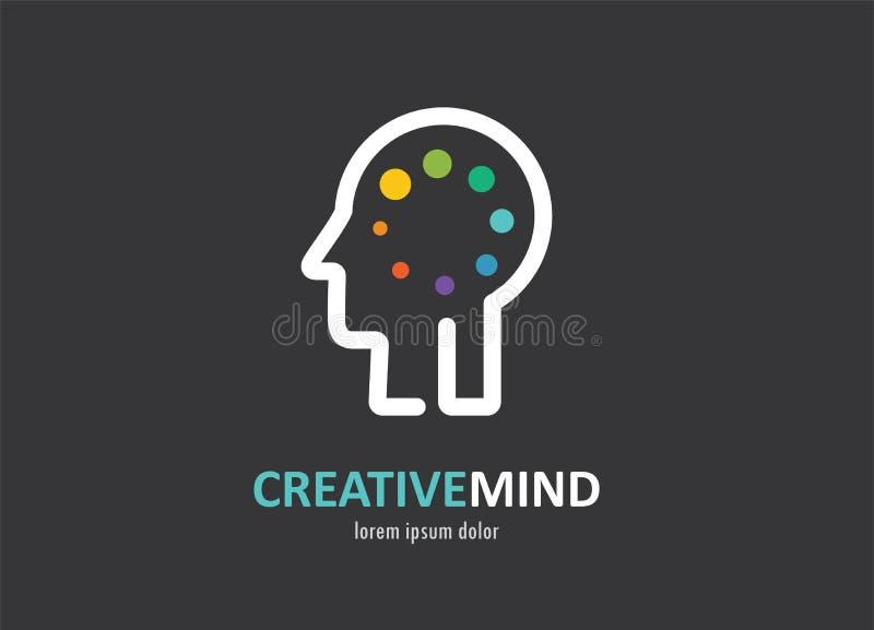 Ícone colorido abstrato criativo, digital do cérebro humano, mente, símbolo ilustração stock