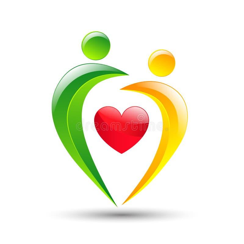 Ícone colorido abstrato dos povos e do coração ilustração royalty free