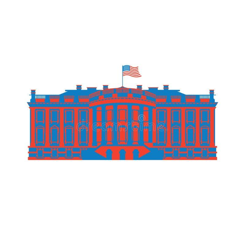Ícone colorido América branco da casa Residência do presidente EUA E.U. ilustração royalty free