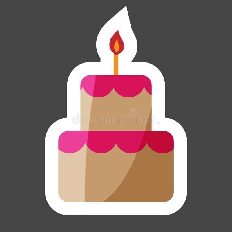 Ícone colorido bolo da etiqueta do vetor Bolo com velas Mergulha o gro ilustração royalty free