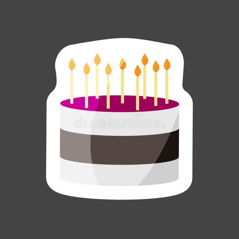 Ícone colorido bolo da etiqueta do vetor Bolo com velas Mergulha o gro ilustração do vetor