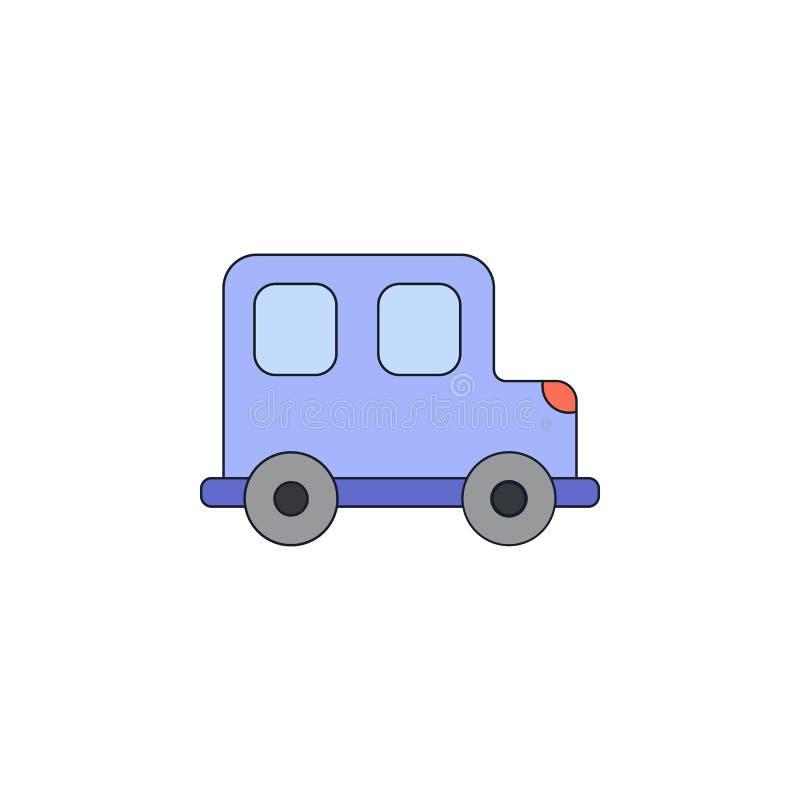 Ícone colorido carro do brinquedo dos desenhos animados Os sinais e os símbolos podem ser usados para a Web, logotipo, app móvel, ilustração stock