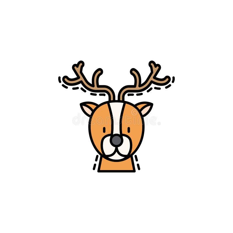 Ícone colorido cervos Elemento do ícone dos avatars do ano novo para apps móveis do conceito e da Web O ícone colorido dos cervos ilustração royalty free